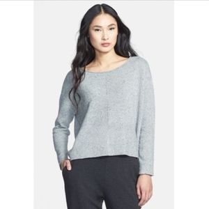 Eileen Fisher Ballet Neck Sweater Gray Marled Silk